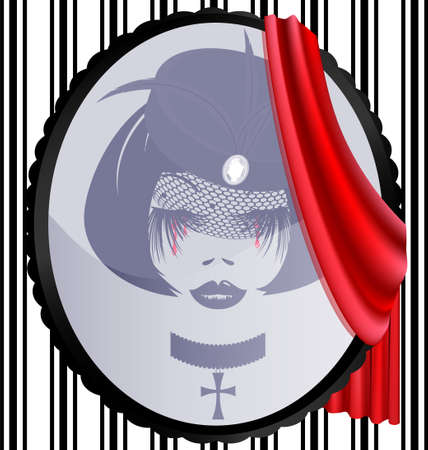 dame: mirror in oval frame, red drape and reflection of gothic woman