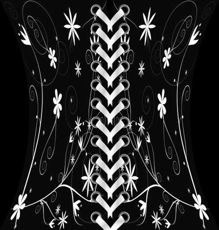 lacing: white-colored lacing between dark fabric with abstract white pattern