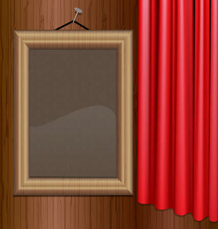 curtian: on the wall is a portrait frame with red drape Illustration