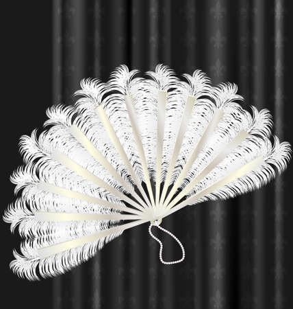 on a dark background is old white feathres fan  イラスト・ベクター素材