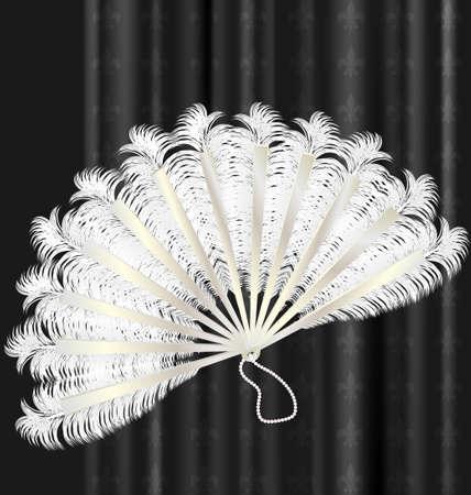 open fan: on a dark background is old white feathres fan Illustration