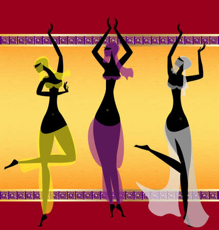 on abstract background are three oriental girls dancing  イラスト・ベクター素材