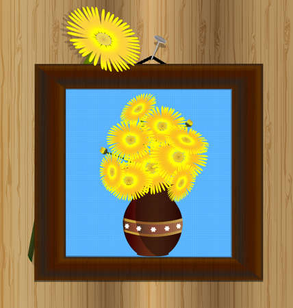 wooden wall and frame with image of yellow flowers Vector