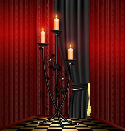 kammare: gammaldags röda rummet och stor svart ljuskrona