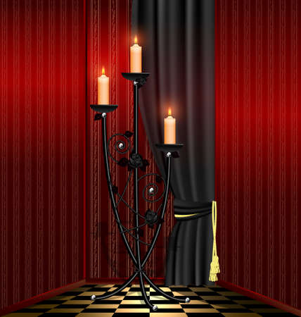 old-fashioned red room and big black chandelier