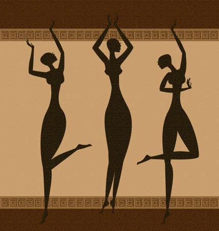 auf abstrakten Hintergrund sind drei schwarzen Grazien tanzen