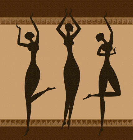 on abstract background are three black graces dancing Illustration