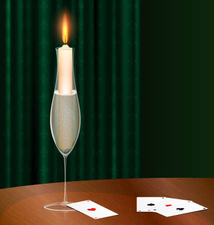 dark room:  table with cards and burning candle in the glass of champagne Illustration