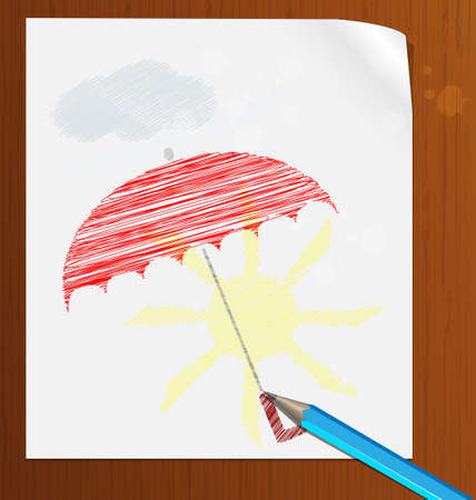 umbel: blue pencil, sheet of paper and the image of sun in the rain
