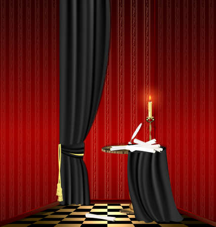 mystic red room, black table with old scrolls and candle