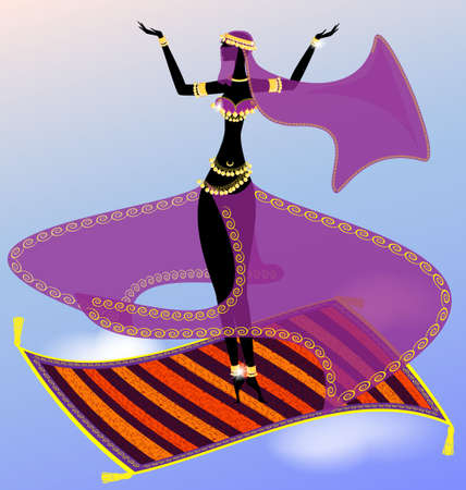 turkish woman: oriental girl dancing in the sky on a flying carpet Illustration
