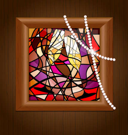 wooden wall and frame with image of two glasses of champagne Vector