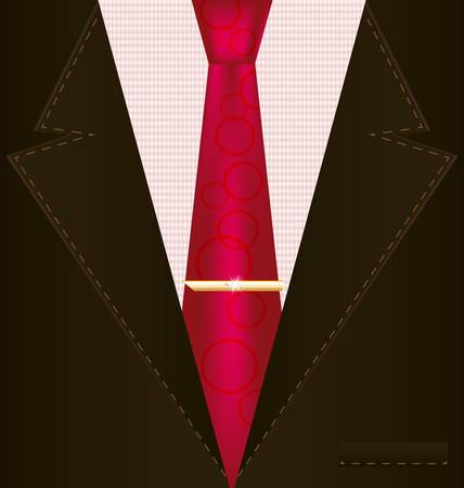 background fantasy  brown male costume with red tie Vector