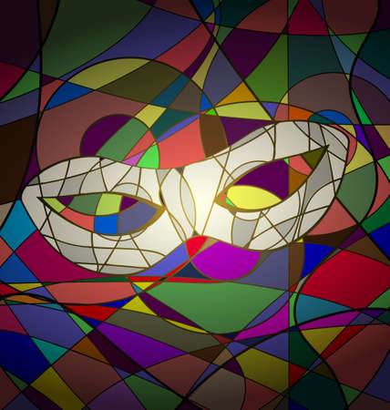 attribute: abstracte achtergrond carnaval masker beeld opgebouwd uit lijnen Stock Illustratie