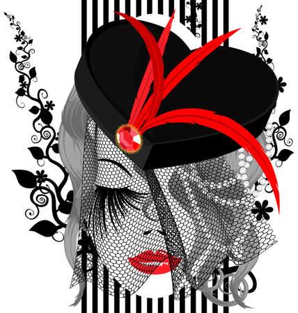 모자: 흰색 배경에 빨간 깃털과 베일 검은 모자와 윤곽 추상 여자의 얼굴입니다