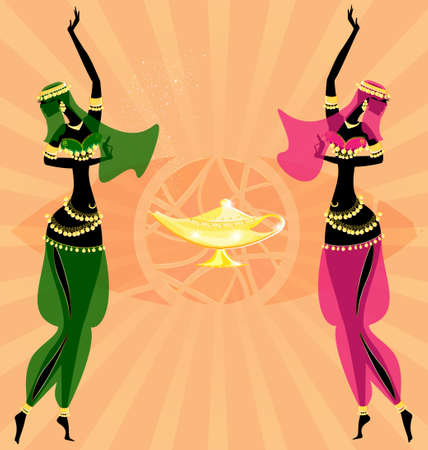 yelllow: on abstract background are two oriental girls dancing
