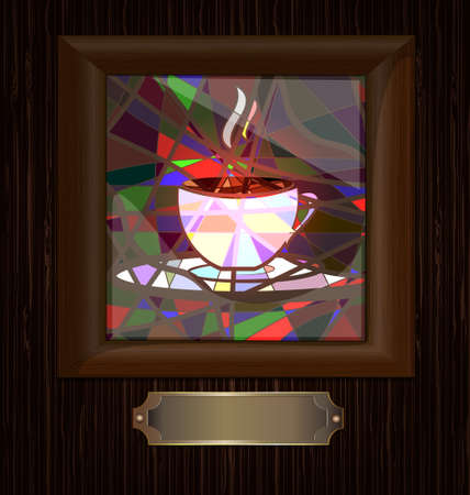 decoraded: wooden wall and frame with image of cup of coffee Illustration