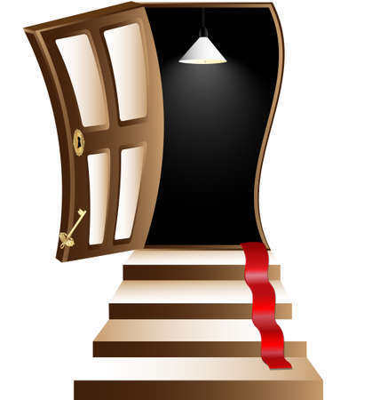 leading the way: ladder leading to the open door into the darkness Illustration
