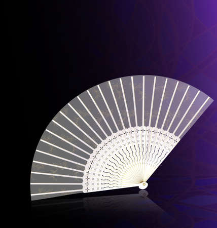 on an abstract background is white-golden fan Vector