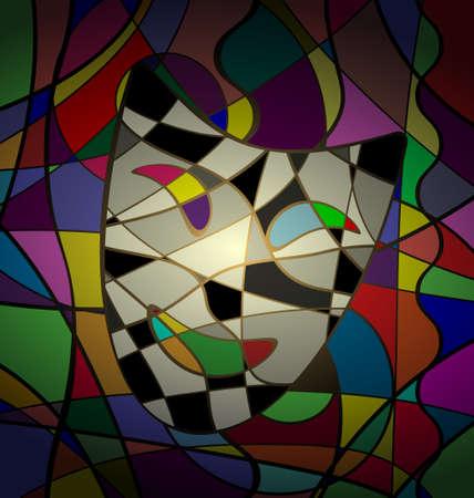 abstrakten Hintergrund Theatermaske camedy Bild aus Linien