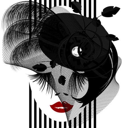 auf einem weißen Hintergrund wird skizziert Frau das Gesicht mit schwarzen altmodischen Hut und Schleier