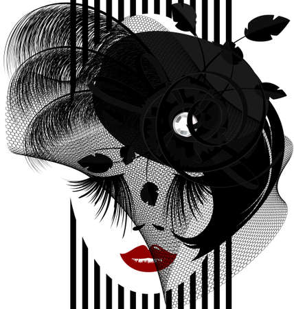 womens clothing: on a white background is outlines woman s face with black old-fashioned hat and veil Illustration