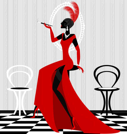 women smoking: in the abstract interior smokes stylish woman in the red