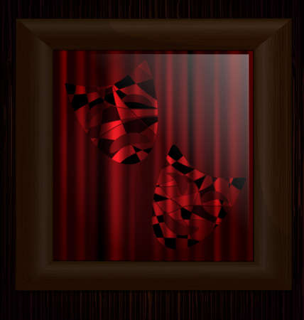 dramatics: wooden wall and frame with image of carnival mask