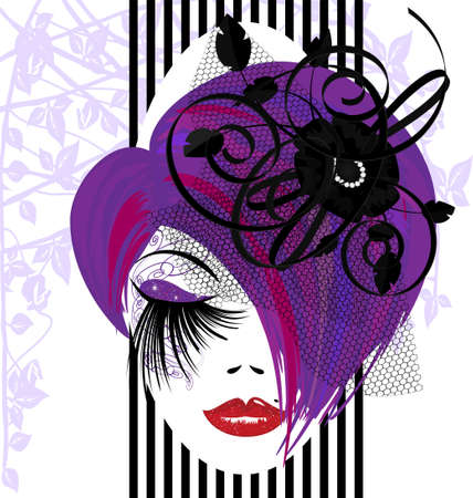 womens clothing: on a white background is outlines woman s face with purple hair and black ribbons Illustration