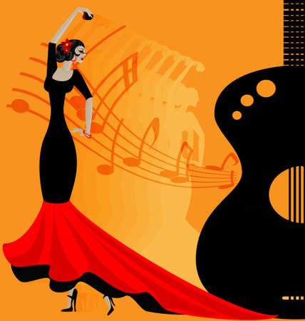 on abstract musical background is dancer flamenko in red-black clothe Stock Illustratie