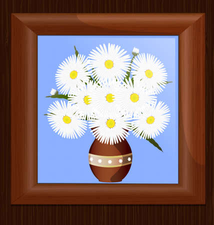 wooden wall and frame with image of daisies Vector