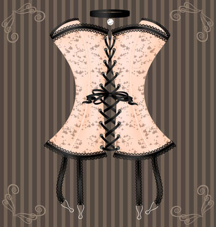 bodice: on a vintage background is a big beige corset decorated with black lace