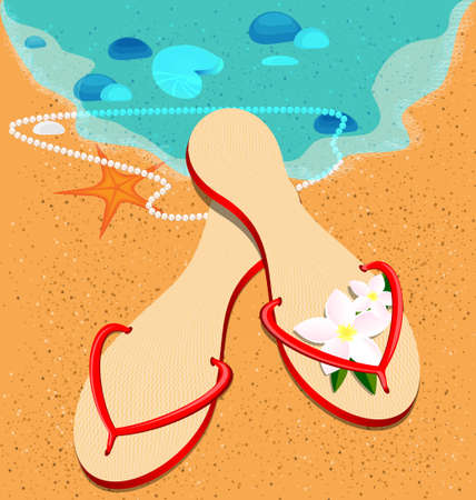on a beach is lady s red sandshoes Vector