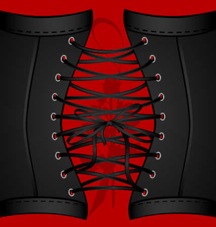 on a red background are a big lace of black corset and shadow of rose Vector