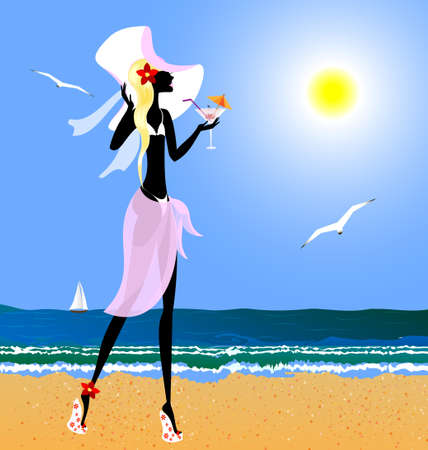 on the summer s beach is stylish blonde girl with drink Vector
