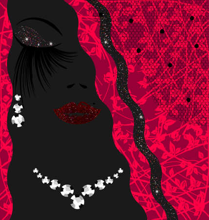 resumen describe cara de la mujer s con pendientes y collar de la joyería