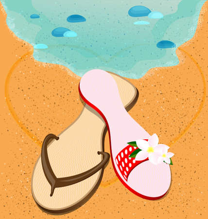 on a summer s beach are couple of sandshoes  man s and woman s Vector