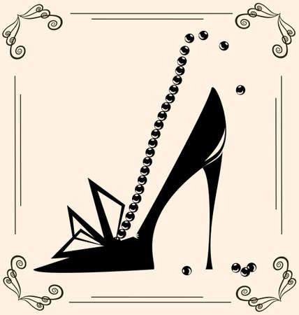 Jahrgang Hintergrund sind auf schwarzen Konturen Frau Schuh Illustration