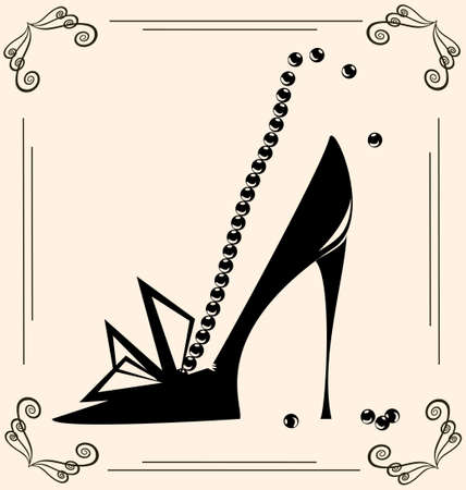 shoe: on vintage background are black outlines woman s shoe