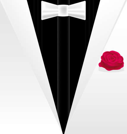 background fantasy  white-black dress of a gentleman with red rose Vector