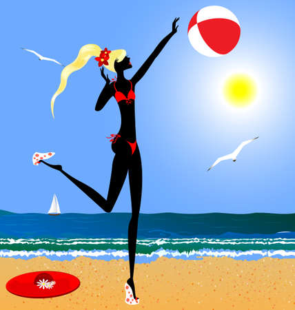 on the summer s beach is stylish blonde girl in red swimsuit Stock Vector - 13040824