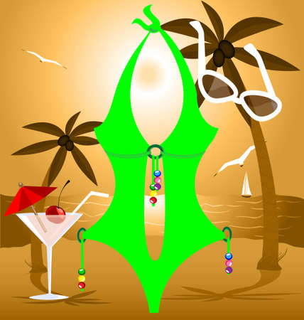 underclothing: on a beach are lady s green swimsuit, glasses and cocktail Illustration