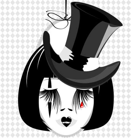 black haired: in an oval frame is outlines woman s black-haired head with black old-fashioned hat