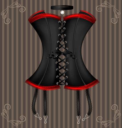 auf einem Vintage-Hintergrund ist ein großes schwarzes Korsett mit roter Spitze verziert