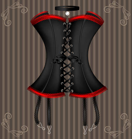 on a vintage background is a big black corset decorated with red lace