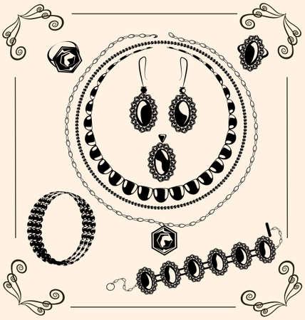 on vintage background are black outlines jewel  イラスト・ベクター素材
