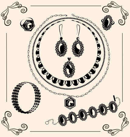 neckband: on vintage background are black outlines jewel Illustration