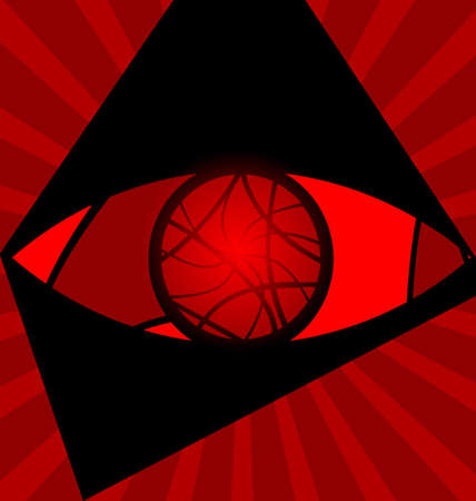red background variation  eye consisting of lines Stock Vector - 13640221