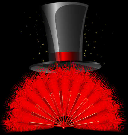 tophat: on a dark background are red feathres fan and old-fashioned top-hat Illustration