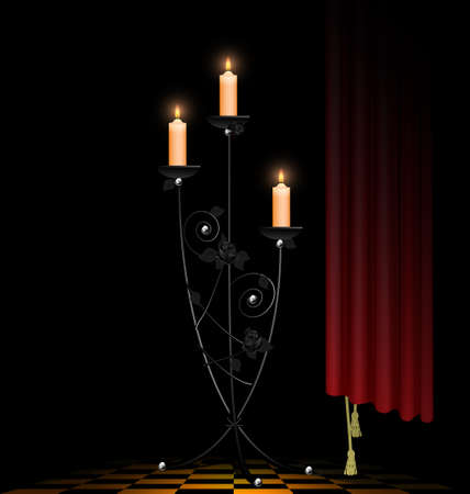 dark room and big black chandelier with three burning candles  イラスト・ベクター素材